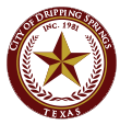 Dripping Springs seal, a star with a wreath around.