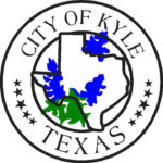 City of Kyle seal, the state of Texas wrapped in bluebonnets.