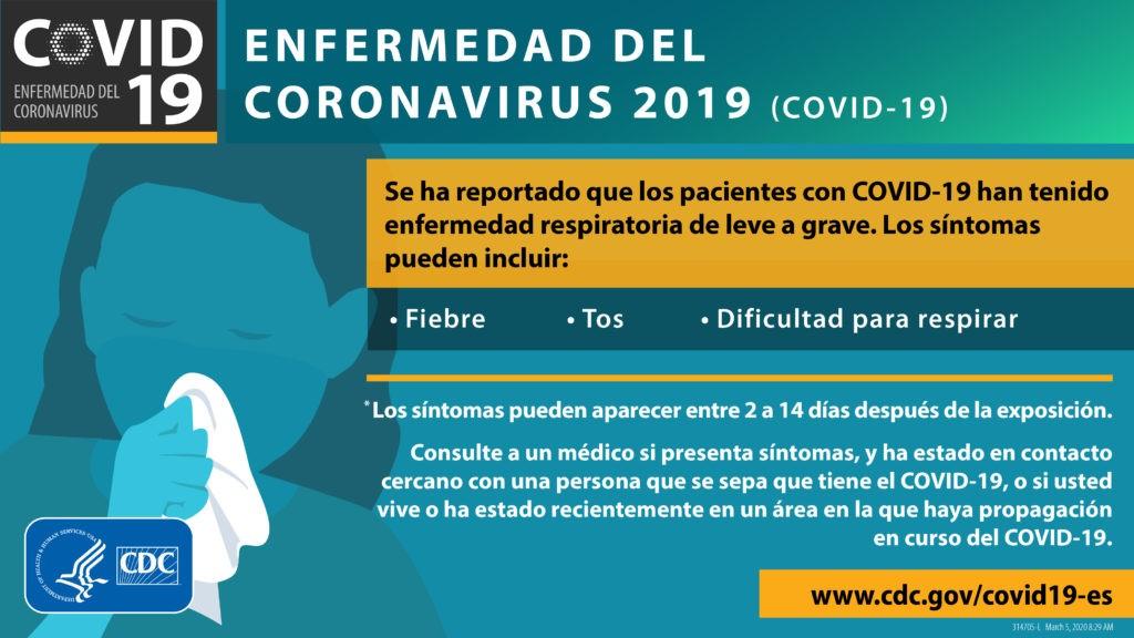 en español: síntomas de COVID-19 fiebre, tos, dificultad para respirar