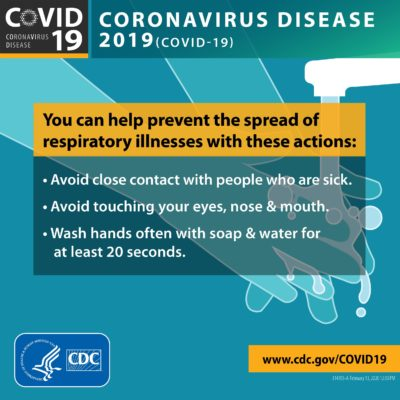 Prevent the spread of COVID-19 by: avoid close contact with people who are sick; avoid touching your eyes, nose and mouth; wash hands often with soap and water for at least 20 seconds.
